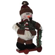 Boneco de Neve de Luxo Pel�cia com Patinete com 31cm de Altura CBRN0470