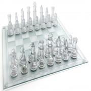 Jogo de Xadrez Tabuleiro Vidro Transparente Fosco 20cmx20cm - CBR1088 / GBA01S
