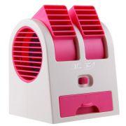 Mini Ventilador Climatizador Port�til Aromatizante 13,5cm � Pilhas ou USB Rosa CBRN1071