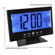Rel�gio de mesa digital lcd led acionamento sonoro despertador termometro PRETO CBRN01422