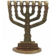 Menorah Shalom Dourado Envelhecido