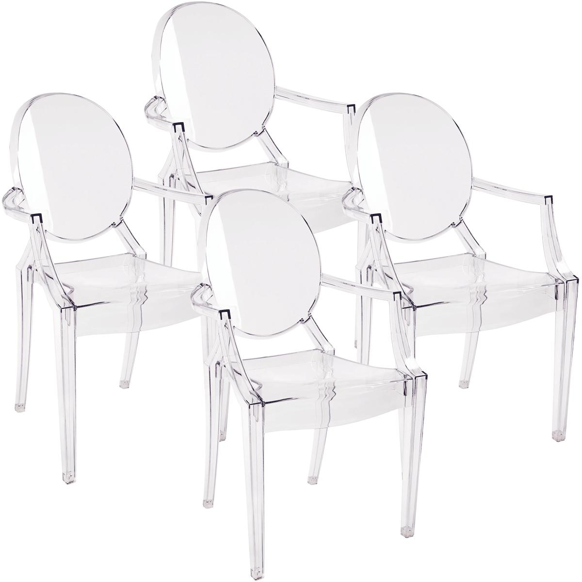 Kit Cadeira Ghost com Braco x4 - Diversas cores