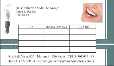 Cart�o de Retorno IMPLANTODONTIA - Ref. 2061