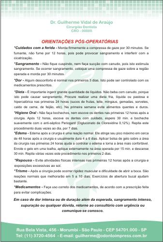 Orienta��es P�s-Operat�rias - Ref. 3302