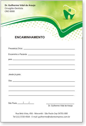 Bloco Encaminhamento Paciente ORTODONTIA - Ref. 3467