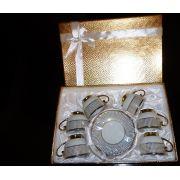 Jogo De Xicaras Caf� Porcelana Nobre D'oro com 12 Pe�as para Presente