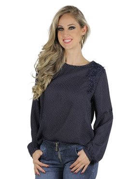 Blusa Estampa Po� E Guipir Azul Planet Girls