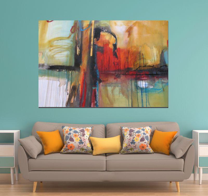 Quadros Para Sala De Estar Baratos ~ Quadro Abstrato sala  Loja de Quadros Decorativos Pintados a mão e