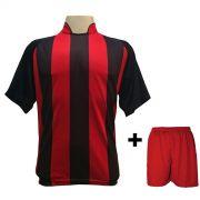 Fardamento - Jogo de Camisa modelo Milan Preto/Vermelho + Cal��o Vermelho com 12 pe�as - Frete Gr�tis Brasil + Brindes