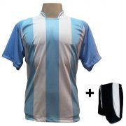 Fardamento Completo - Camisa modelo Milan Celeste/Branco com Cal��o modelo Copa Preto/Branco 12+1 (12 camisas + 12 cal��es + 13 pares de mei�es + 1 conjunto de goleiro) - Frete Gr�tis Brasil + Brindes