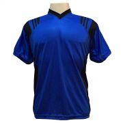 Uniforme Esportivo - Jogo de Camisa modelo Roma com 12 pe�as Royal/Preto + 1 Camisa de Goleiro - Frete Gr�tis Brasil + Brindes