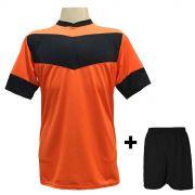 Jogo de Camisa modelo Columbus Laranja/Preto + Cal��o Preto com 18 unidades - Frete Gr�tis Brasil + Brindes