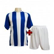 Fardamento - Jogo de Camisa modelo Milan + Cal��o com 18 Azul Royal/Branco - PlayFair - Frete Gr�tis Brasil + Brindes