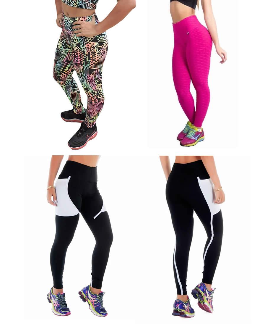 Kit 3 Cal�as Legging Fitness Suplex e Tecido Bolha para Academia Tamanho M - ES100K