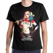 Camiseta Masculina Esquadr�o Suicida Harley Quinn Bubble Gum