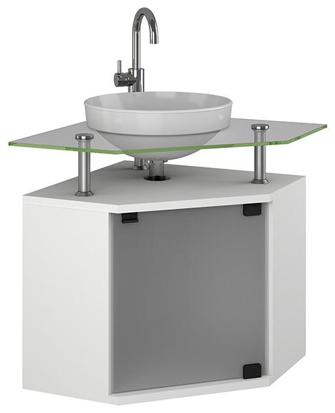 Móvel 5  Gabinete em MDF para Banheiro com Vidro  Armário Rubi -> Gabinete De Banheiro Canto