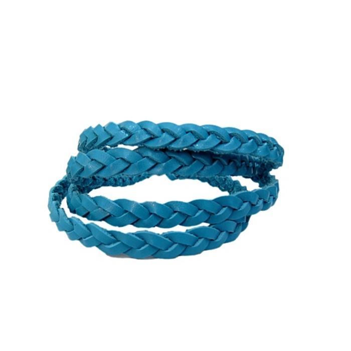 Couro tran�ado achatado azul turquesa- CT007
