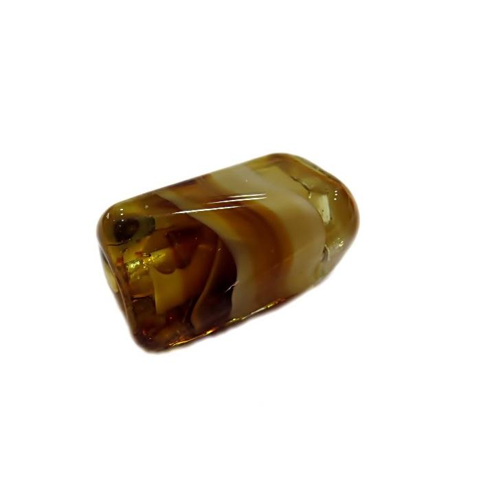 Facetado de murano G ambar/ creme-MU533