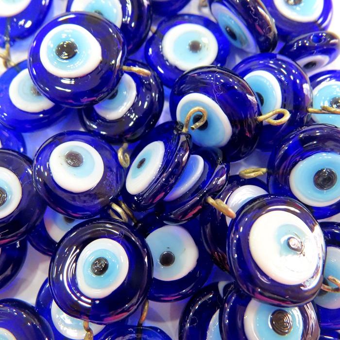 Olho grego achatado pingente azul�o/ turquesa grande (05 unidades)- OGP021