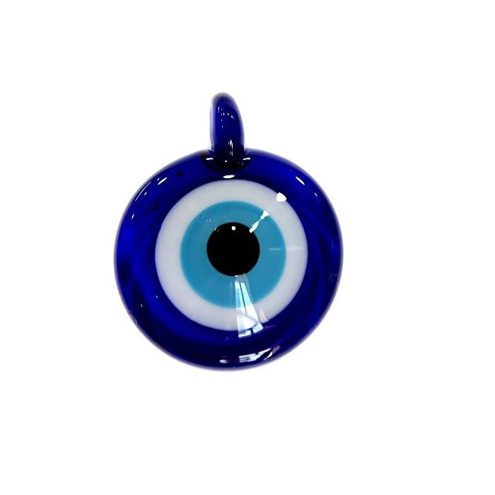 Olho grego pingente redondo/ relevo azul�o- OGP027