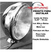 Farol Off Road Rally Buggy Fusca Cromado com Luz Alta e Baixa + meia Luz - [H4 cromo com meia luz]