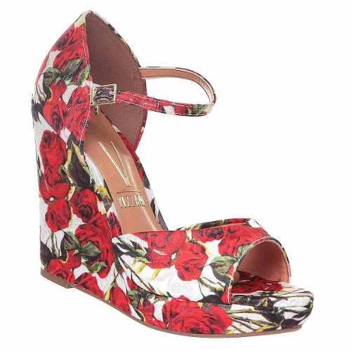 Sand�lia Anabela Vizzano Rosa Floral Tecido Linda 6215122