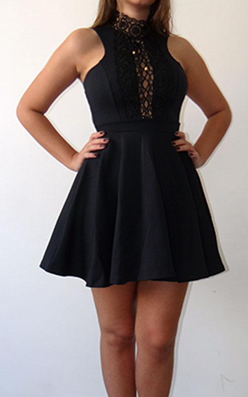Vestido Neo Black com renda Guipir