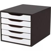 Caixa Arquivo em MDF Black Piano com 5 Gavetas Black Piano