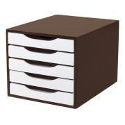 Caixa Arquivo em MDF Tabaco com 5 Gavetas Brancas