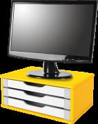 Suporte para Monitor de Mesa em MDF Amarelo com 3 Gavetas Brancas