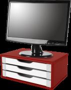 Suporte para Monitor de Mesa em MDF Vermelho com 3 Gavetas Brancas