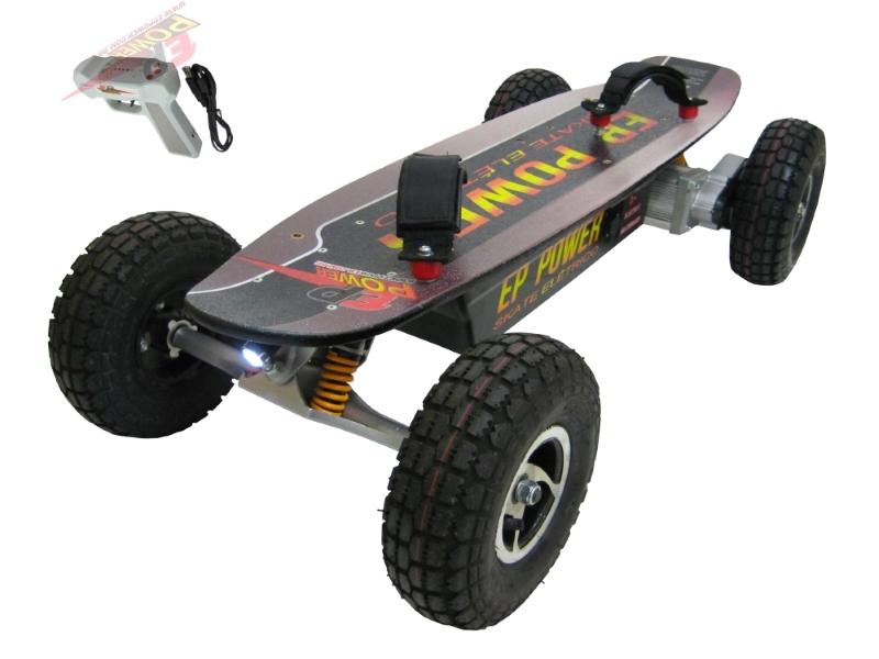 Skate El�trico Off Road 1300w Motor Brushless  - EPPOWER c/ Farol, Lanterna, Controle Digital, 14ah, Fun��o R�