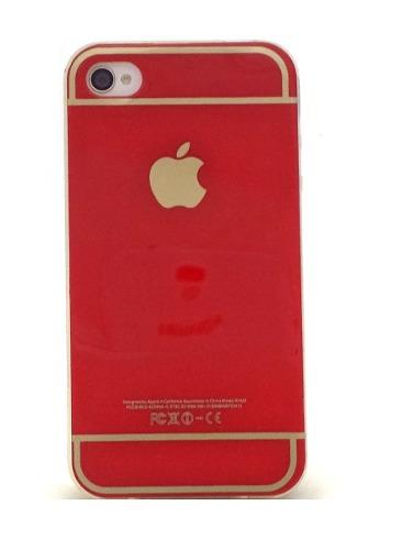 Capa Iphone 4 Apple Flexível Vermelha Maçã Dourada
