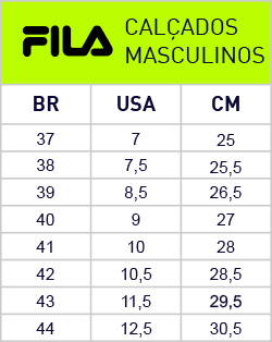 tabela tamanho tenis mizuno masculino usa