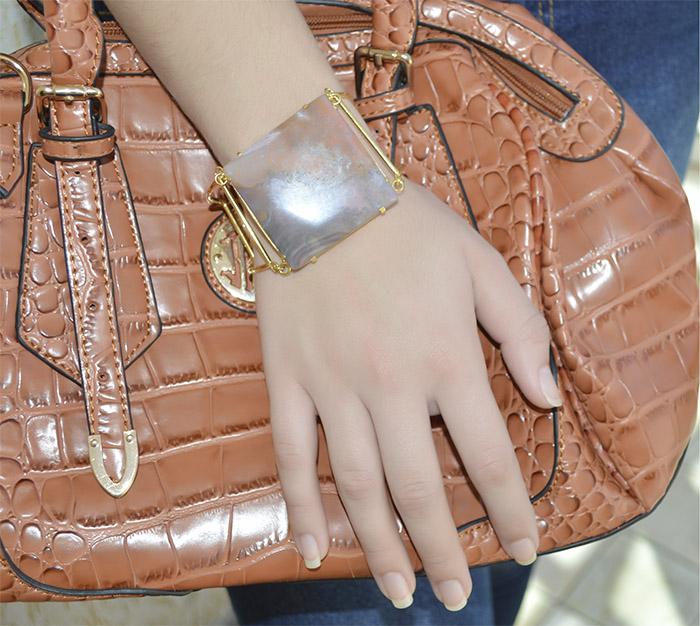 bracelete de jaspe natural folheado a ouro