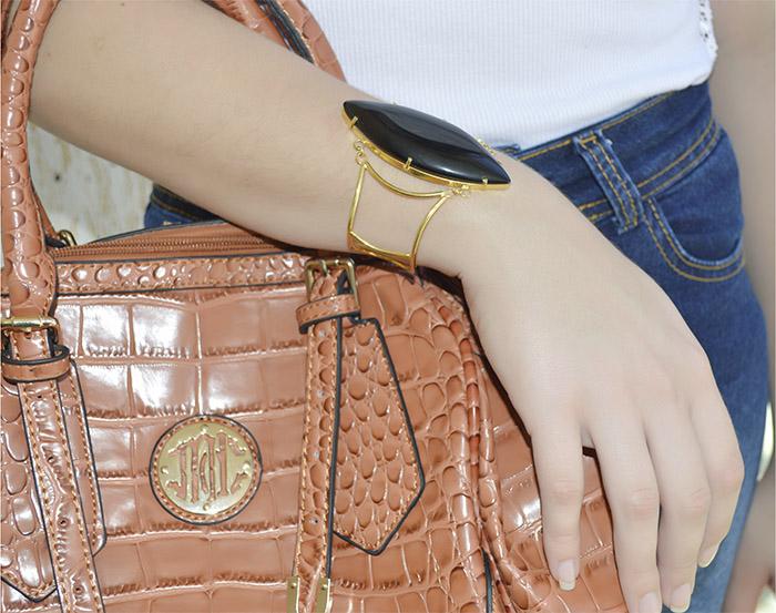 bracelete de pedra natural preta