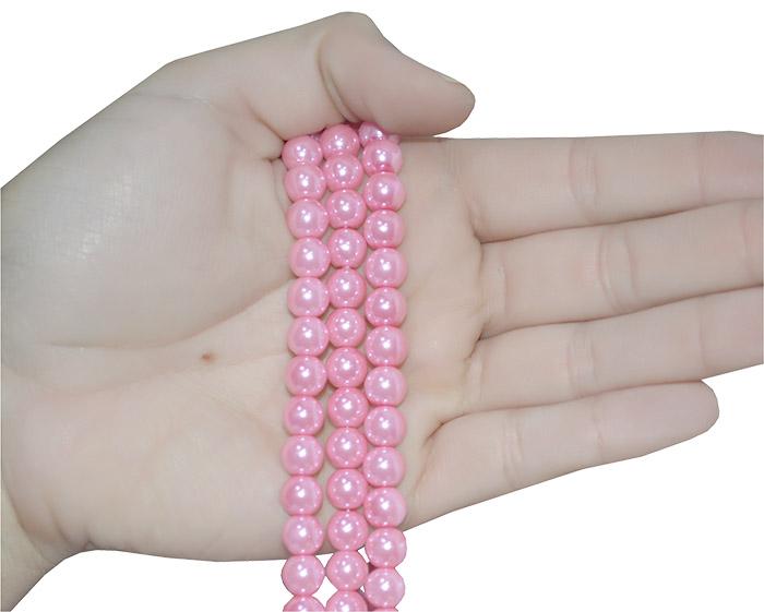 pérola de vidro rosa 8mm
