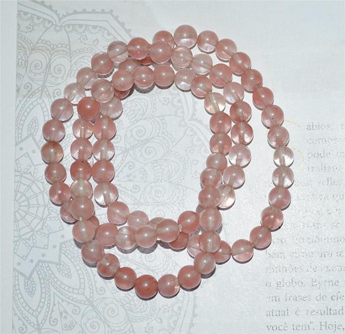 pulseira de pedra natural rosa