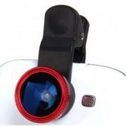 Kit Lentes 3x1 Olho-de-peixe / Macro /Grande-angular Wide / Universal para Smartphone e Tablet - Cor Vermelha