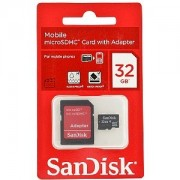 Cart�o de Mem�ria Micro-SDHC 32GB - c/ Adaptador SD - SanDisk