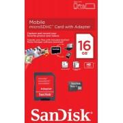 Cart�o de Mem�ria Micro-SDHC 16GB - c/ Adaptador SD - SanDisk