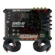 M�dulo Amplificador SounDigital SD400.4D Mini 400W Rms 2 Ohms + Cabo Rca