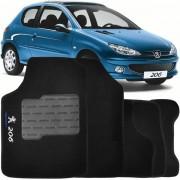 Tapete Automotivo Personalizado Carpete Peugeot 206 99 at� 10 Preto Jogo 4 pe�as