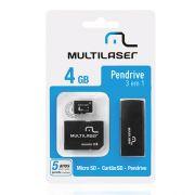 Kit Multilaser Pen Drive 3 em 1 Multilaser Micro SD 4 GB Adaptador e Leitor de Cat�o Mc057