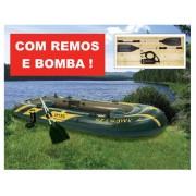Bote Infl�vel Intex Seahawk 4 com par de remos e bomba de inflar #68351