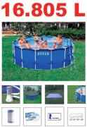 Piscina PVC Arma��o Redonda 16.805L + Bomba Filtro + Escada + Prote��o de Fundo - Intex 110v