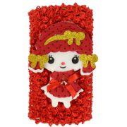 Faixa Luxo Vermelha Larga Para Cabelos Com Feltro Menina - 01 Unidade