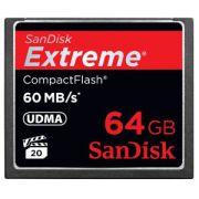 Cart�o de Mem�ria Compact Flash CF 64GB Sandisk Extreme 400x
