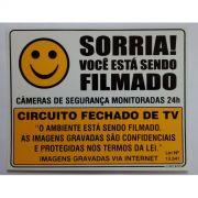 Placa Sorria, Voc� est� sendo Filmado - Plastico PVC ( Grande)