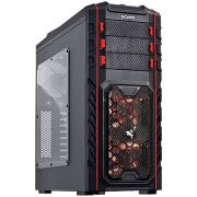 Gabinete MID Tower Pegasus S/ Fonte C/ 02 Coolers LED Vermelho Frontal e 01 Cooler Traseiro